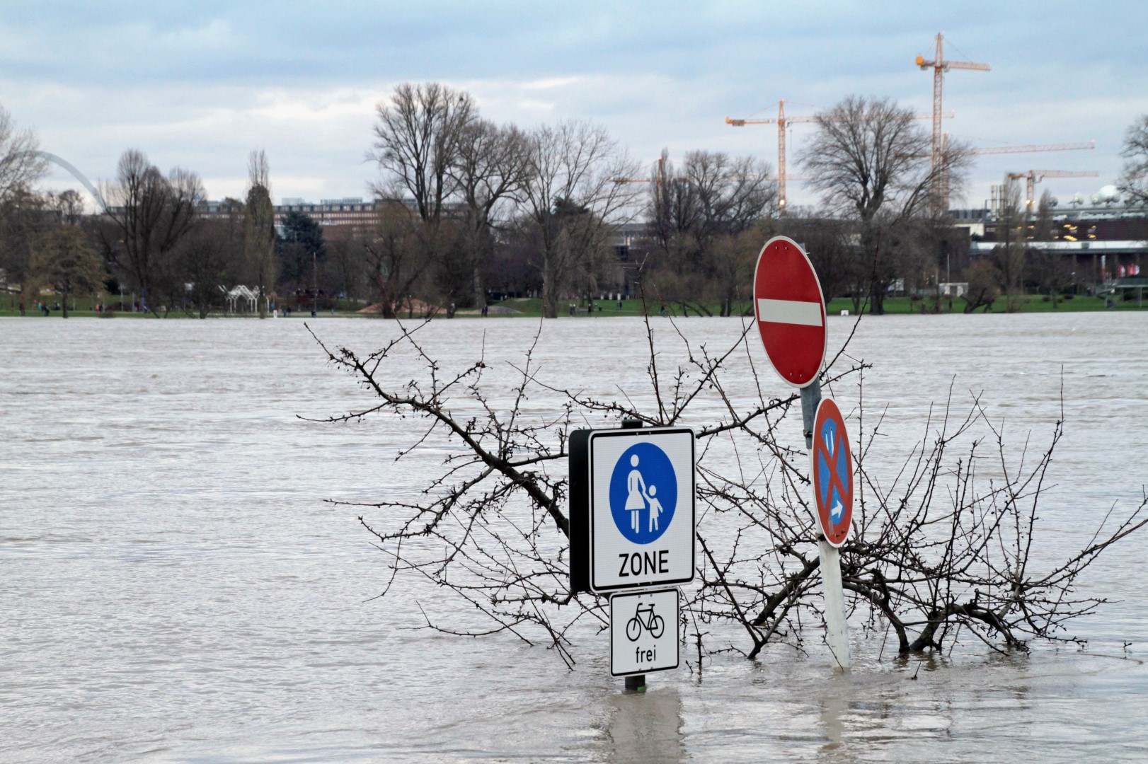 Rhein river flooding in Cologne, Germany